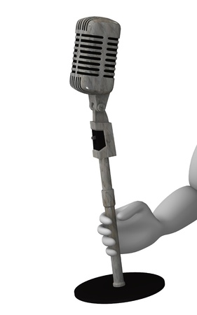 figourine: 3d render of cartoon character with microphone Stock Photo