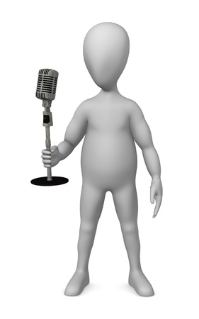 shure: 3d render of cartoon character with microphone Stock Photo