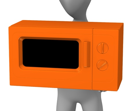 microwave oven: 3d render of cartoon character with microwave Stock Photo