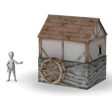 3d render of cartoon character with water mill  photo