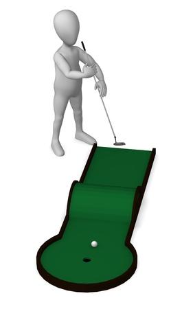 minigolf: 3d render of cartoon character with minigolf