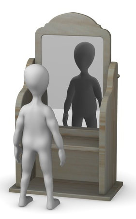 3d render of cartoon character with mirror Stock Photo - 12984751