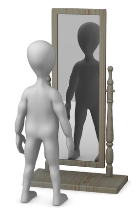 antique mirror: 3d render of cartoon character with mirror