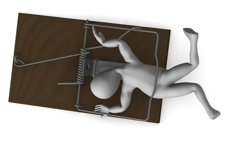 3d render of cartoon character with mousetrap photo