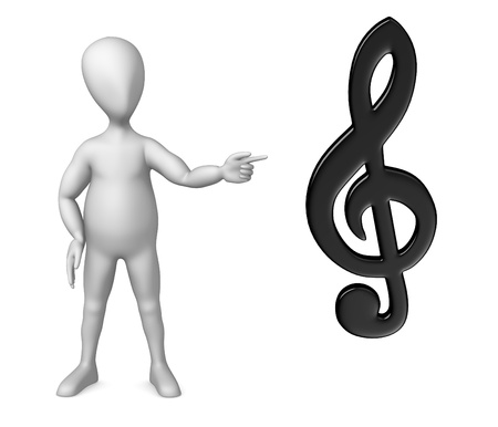 3d render of cartoon character showing musical symbol photo