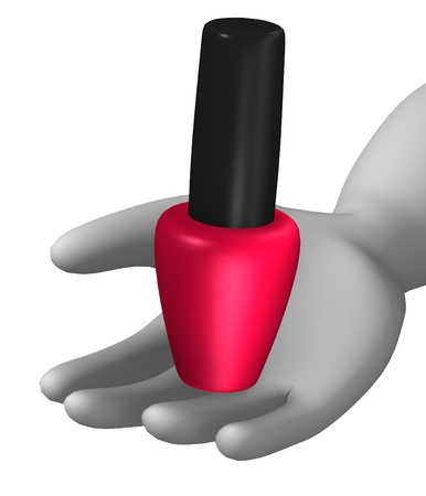3d render of cartoon character with nailpolish photo