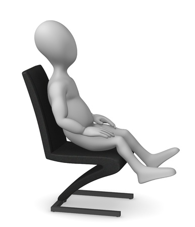3d render of cartoon character with chair Stock Photo - 12956860