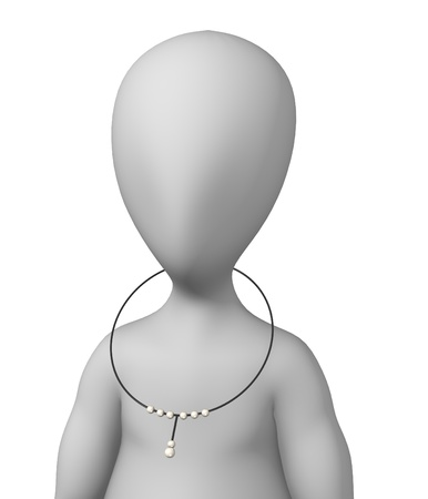 3d render of cartoon character with necklace Stock Photo - 12969710