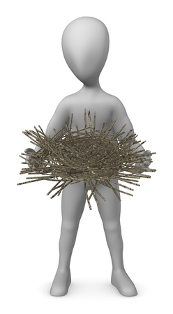 stockie: 3d render of cartoon character with nest Stock Photo