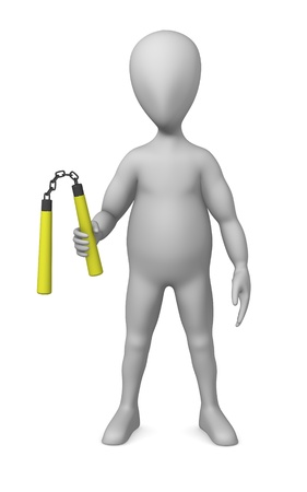 3d render of cartoon character with nunchaku weapon  photo