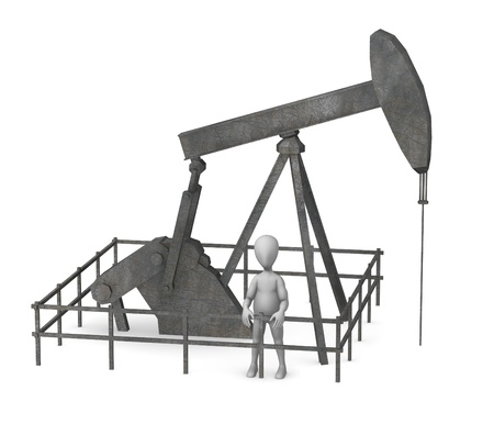 dug well: 3d render of cartoon characer with oil rig Stock Photo