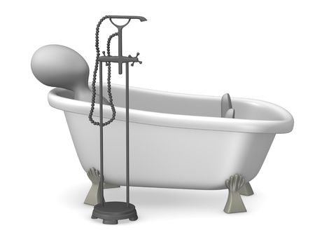 3d render of cartoon characer with old bath Stock Photo - 12968061