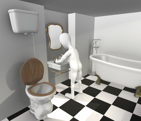 3d render of cartoon characer with old bath photo