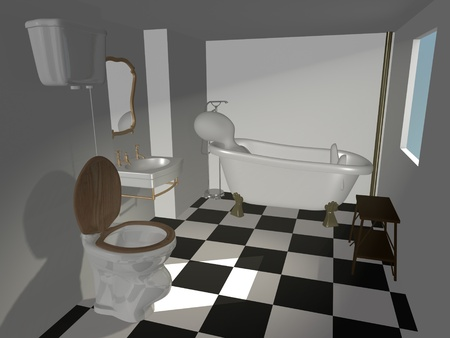 3d render of cartoon characer with old bath Stock Photo - 12967563