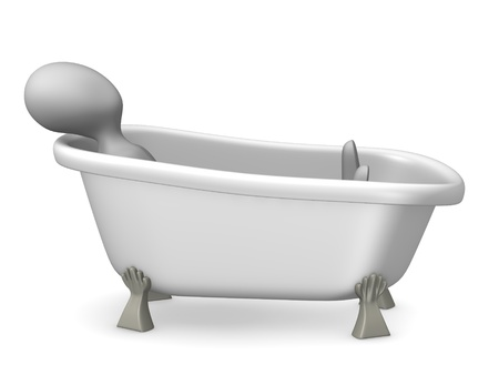 3d render of cartoon characer with old bath Stock Photo - 12969265