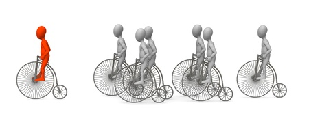figourine: 3d render of cartoon characer with old bike