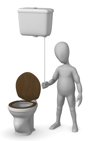 3d render of cartoon characer with old toilet photo