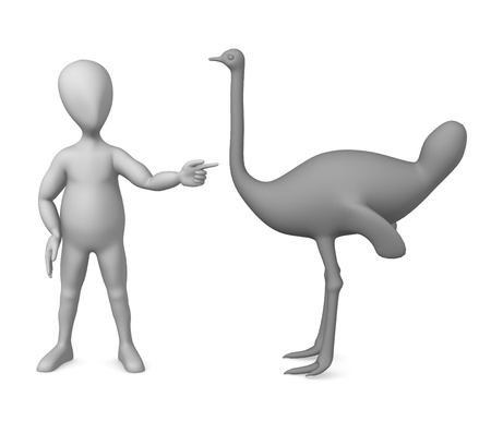 3d render of cartoon characer with ostrich photo
