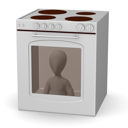 3d render of cartoon characer with oven photo