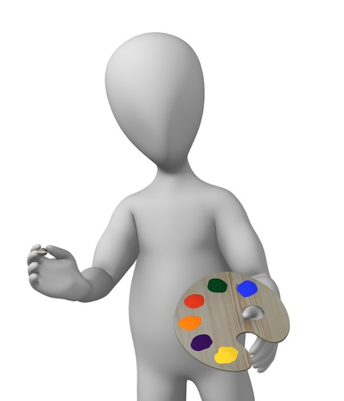 suppliers: 3d render of cartoon characer with painting tool Stock Photo