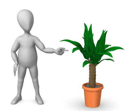 show plant: 3d render of cartoon characer with palm