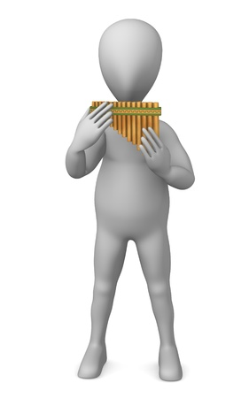 3d render of cartoon characer with pan flute photo