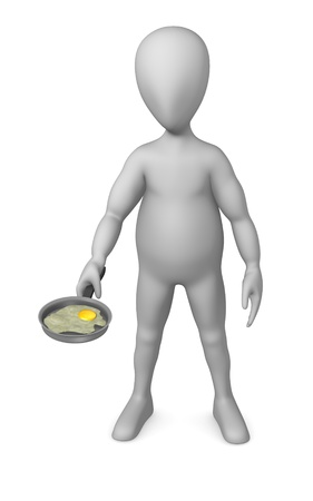 3d render of cartoon character with pan photo