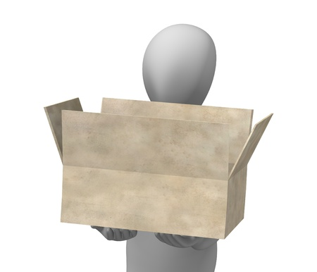 3d render of cartoon character with paper box photo
