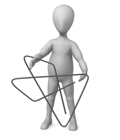 3d render of cartoon character with paper clip photo