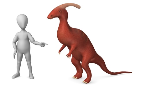 figourine: 3d render of cartoon character with dino Stock Photo