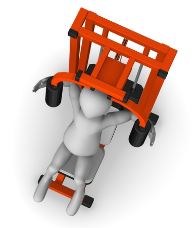 peck: 3d render of cartoon character with peck deck machine