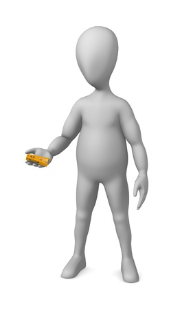 clothes peg: 3d render of cartoon character with clothes peg