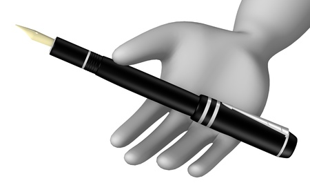 3d render of cartoon character with pen