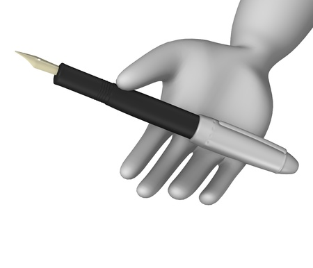 blanc: 3d render of cartoon character with pen