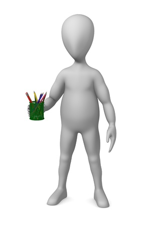 3d render of cartoon character with pencil box photo