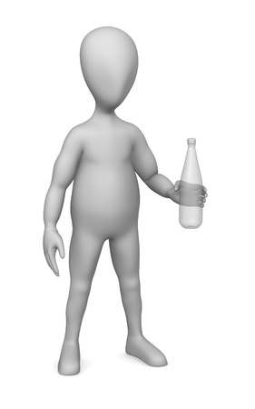 man drinking water: 3d render of cartoon character with pet bottle