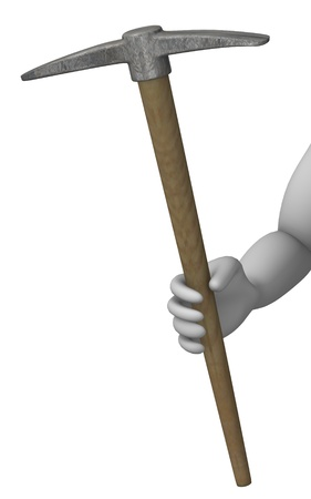 pickaxe: 3d render of cartoon character with pickaxe