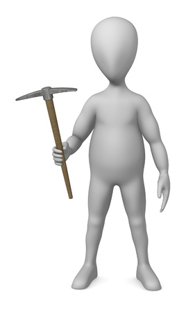 3d render of cartoon character with pickaxe photo
