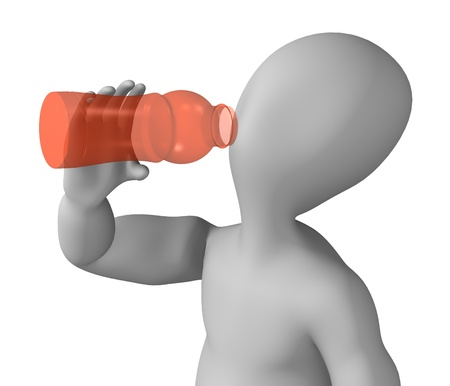 3d render of cartoon character with pet bottle photo