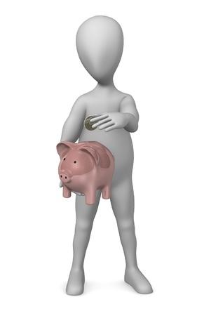 3d render of cartoon character with piggy bank Stock Photo - 12970321