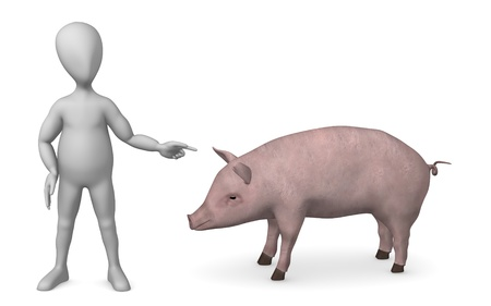 figourine: 3d render of cartoon character with pig Stock Photo