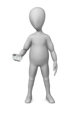 3d render of cartoon character with pill plate photo