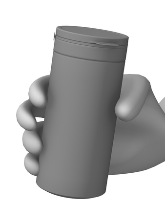 3d render of cartoon character with pill bottle photo