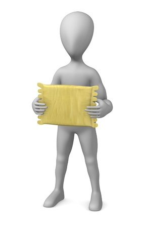 photoreal: 3d render of cartoon character with pillow
