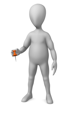 affix: 3d render of cartoon character with pin