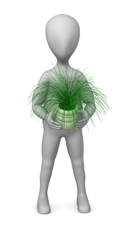 figourine: 3d render of cartoon character with plant Stock Photo