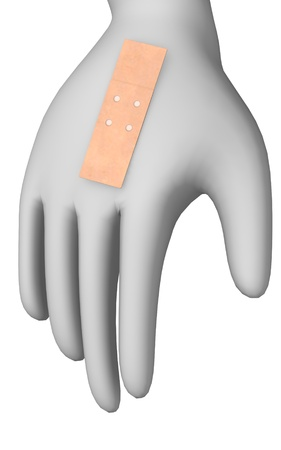 3d render of cartoon character with plaster Stock Photo - 12969066