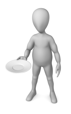 3d render of cartoon character with plate photo
