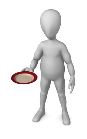 bar ware: 3d render of cartoon character with plate