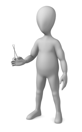 3d render of cartoon character with pliers (medical)  photo